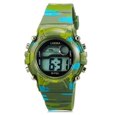 LASIKA W-F54 Children's LED Electronic Watch with Calendar, Alarm Clock & Backlight Display - Green