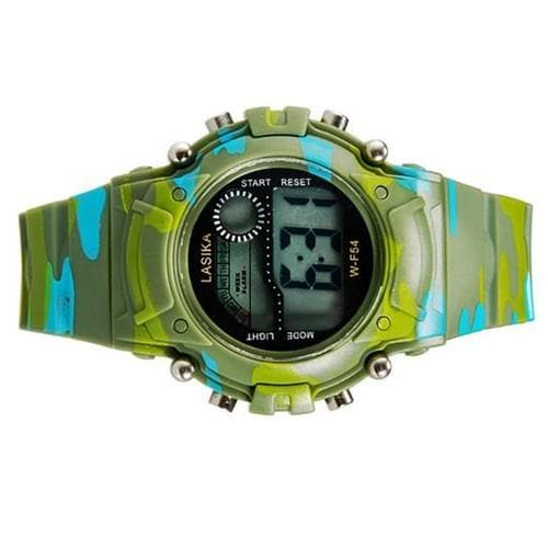 LASIKA W-F54 Children's LED Electronic Watch with Calendar, Alarm Clock & Backlight Display - Green - FLJ CORPORATIONS