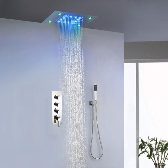 Double Shower Bathroom Shower Faucet Set With 50X36 CM LED Ceiling Mount Rainfall Shower Head Plus Hand Shower/ Hot And Cold Bath Mixer Valve / Brass / Contemporary - FLJ CORPORATIONS