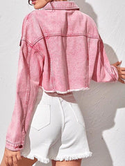 Women's Denim Jacket Regular Solid Colored Daily Basic Blushing Pink XS S M