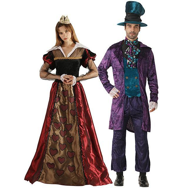 Queen of Hearts Mad Hatter Cosplay Costume Outfits Group Costume Adults' Men's Cosplay Halloween Halloween Festival / Holiday Polyester Purple / Red Men's Women's Easy Carnival Costumes