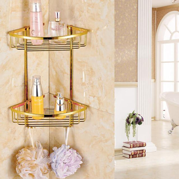Gold luxurious Bathroom Double-deck Brass Material Triangular Storage Basket