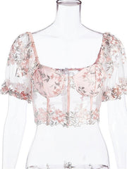 Women's Crop Top Floral Mesh Patchwork V Neck Tops Sexy Streetwear Basic Top Blushing Pink