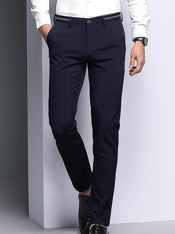 Men's Basic Daily Dress Pants Pants - Solid Colored High Waist Black Blue 29 / 30 / 31 - FLJ CORPORATIONS