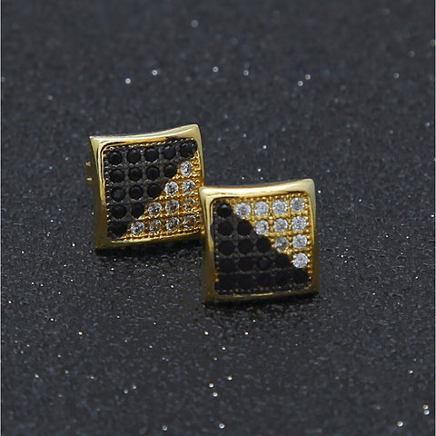 Men's Cubic Zirconia Stud Earrings Stylish Mini Precious European Trendy Hip-Hop Rhinestone Earrings Jewelry Gold / Silver For Wedding Masquerade Engagement Party Prom Date Street 1 Pair - FL
