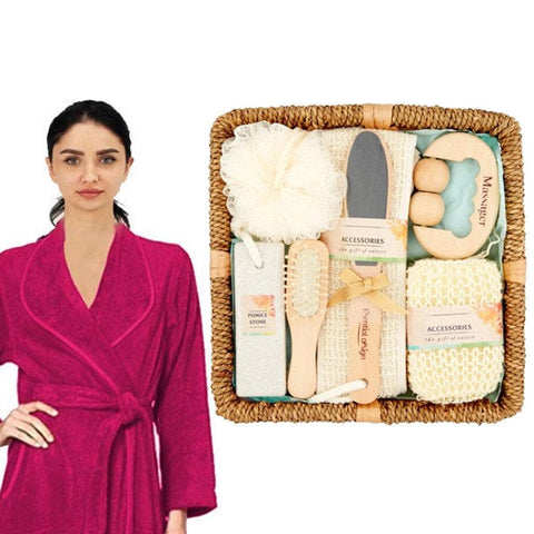 7-Piece Bath Set Spa Gift Set In Basket Bathroom Accessories - FLJ CORPORATIONS