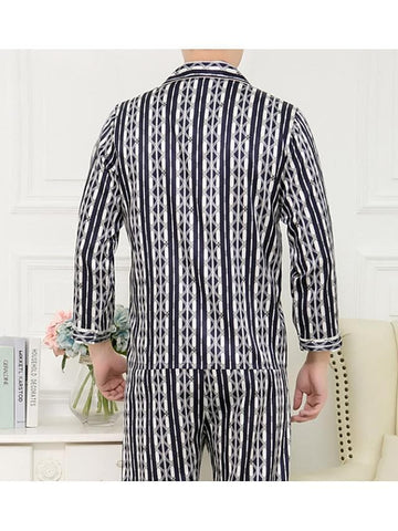 Men's Shawl Lapel Suits Pajamas Geometric