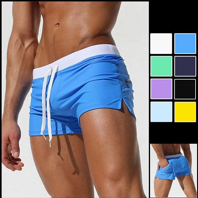 Men's Swim Shorts Swim Trunks Board Shorts Quick Dry Stretchy Zipper Pocket Drawstring - Swimming Diving Surfing Patchwork Spring &  Fall Summer / Beach - FLJ CORPORATIONS
