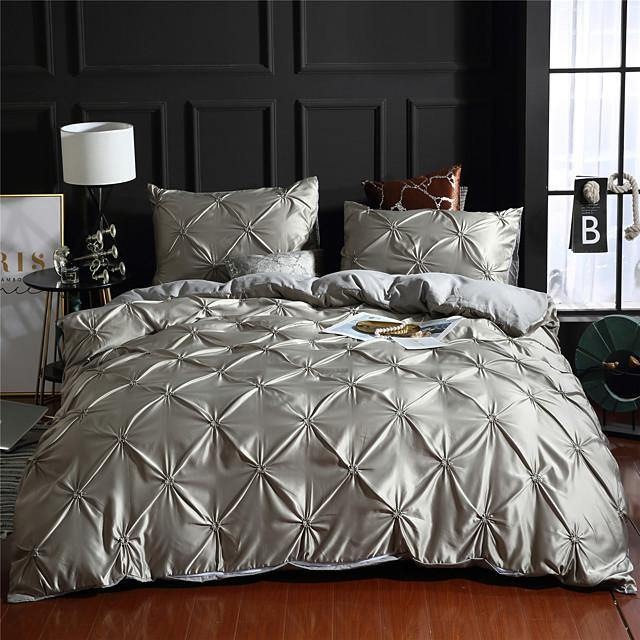 Duvet Cover Sets 1 Piece Rayon / Polyester Solid Colored Dark Brown Pleated Simple / >800 / 3pcs (1 Duvet Cover, 2 Shams)