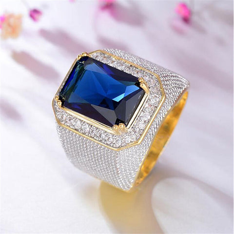 Men's Ring Synthetic Aquamarine 1pc Gold Titanium Steel Geometric Stylish Party Gift Jewelry Classic Happy Cool - FLJ CORPORATIONS