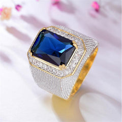 Men's Ring Synthetic Aquamarine 1pc Gold Titanium Steel Geometric Stylish Party Gift Jewelry Classic Happy Cool