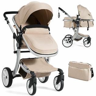Gymax Folding Aluminum Infant Bassinet Reversible Baby Stroller W/ Diaper Bag Beige