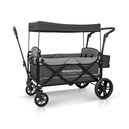 WonderFold Wagon Push Pull 2 Passenger Double Stroller Wagon Adjustable Bar
