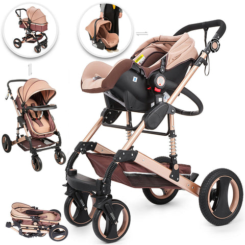 VEVOR Luxury Baby Stroller 3 In 1 Pushchair Foldable Buggy Infant Travel With Car Seat