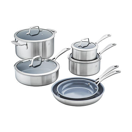 Zwilling J.A. Henckels Spirit 3-ply 10pc. Stainless Steel Ceramic Nonstick Cookware Set - FLJ CORPORATIONS