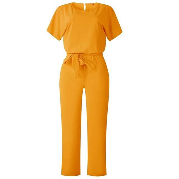 Plus Size Short Sleeve Lace-up Loose Jumpsuit - FLJ CORPORATIONS