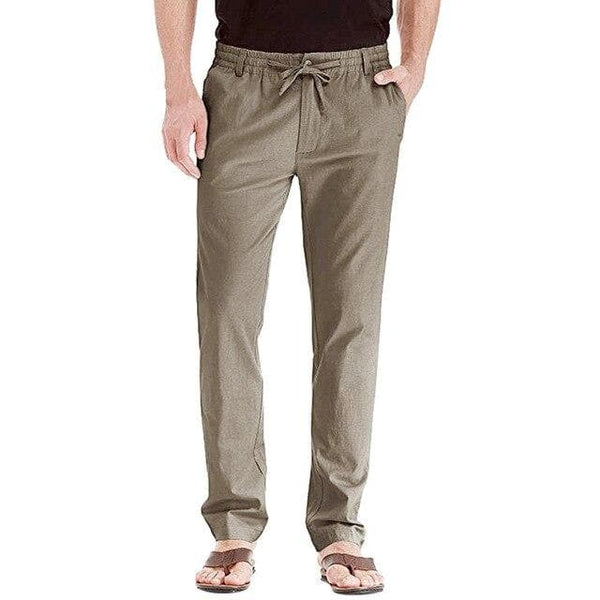 Men's Pants Casual Linen Breathable Loose Sport Long Pants Solid - FLJ CORPORATIONS