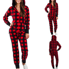 Woman's Plus Size Hooded Christmas Home Pajamas One Piece Adult Onesie