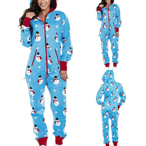 Woman's Plus Size Hooded Christmas Home Pajamas One Piece Adult Onesie - FLJ CORPORATIONS