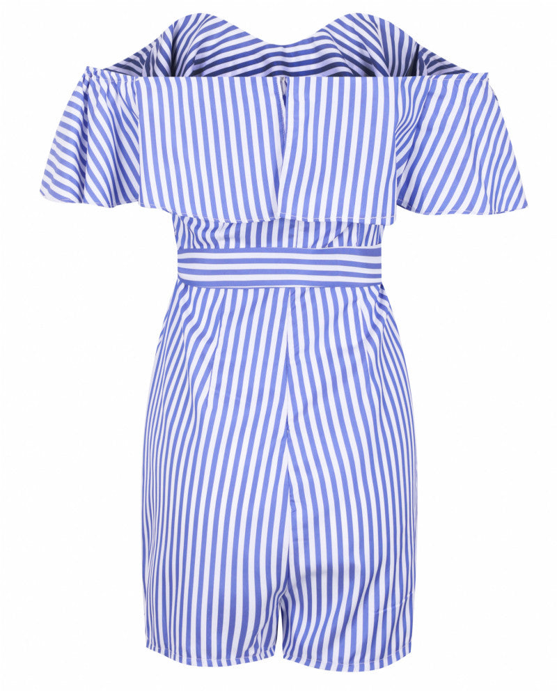 Women Striped Off Shoulder Ruffles Design Romper Female Sexy Bowknot Plasuit - FLJ CORPORATIONS