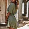 Image of Women Solid Short Sleeve Slim Waist Playsuits Ladies Casual Rompers Jumpsuits - FLJ CORPORATIONS