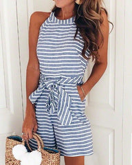 Women Striped Sexy Sleeveless Playsuit Ladies Belted Casual Romper Jumpsuits