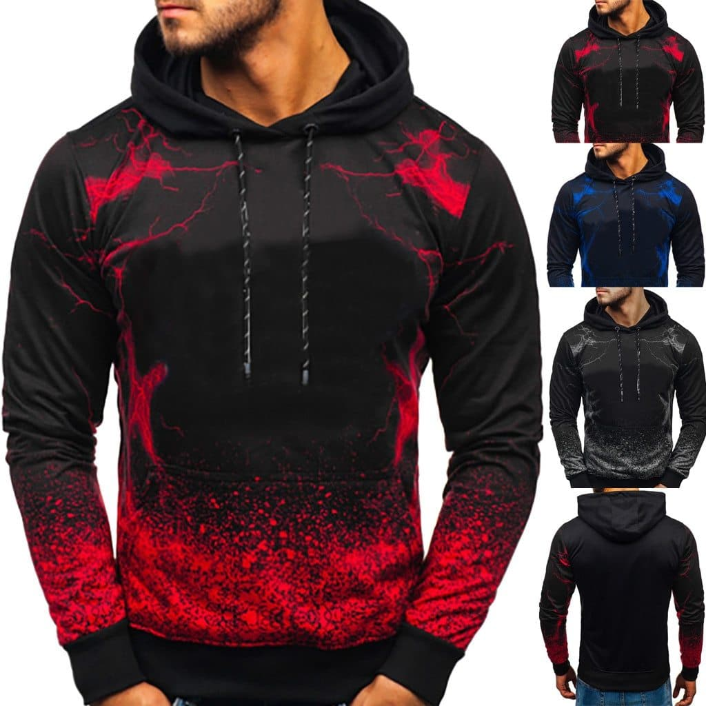 Men's Fashion Long-sleeved Round Neck Gradien Color Printing Sweater - FLJ CORPORATIONS
