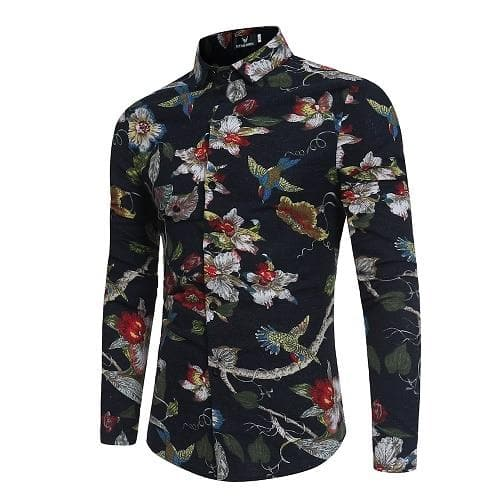 Laamei Men's Long Sleeve Casual Shirts Fashion Rose Flower 3D Print - FLJ CORPORATIONS