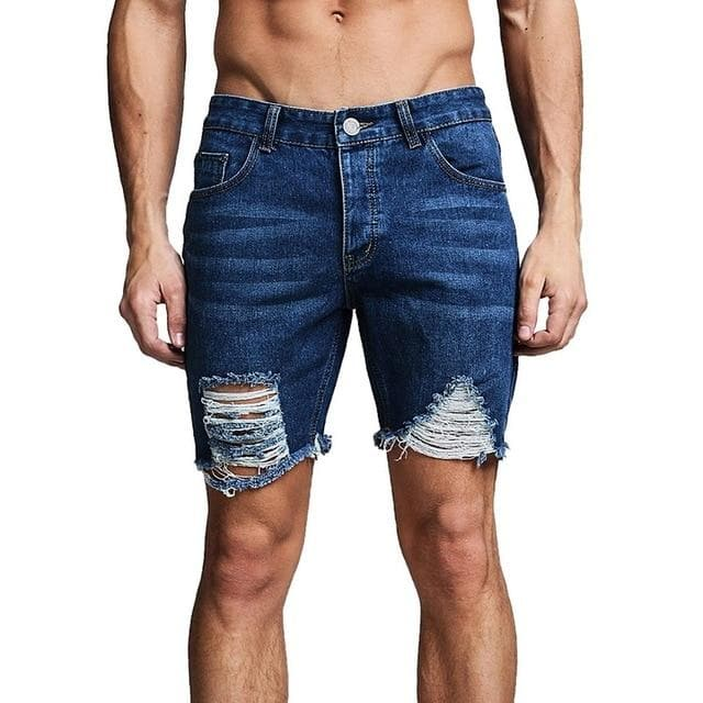 MJARTORIA 2019 New Men's Regular- Denim Short Jean Pants Summer Casual Hole Zipper  Mid Waist Shorts Men's Solid Jean Shorts - FLJ CORPORATIONS