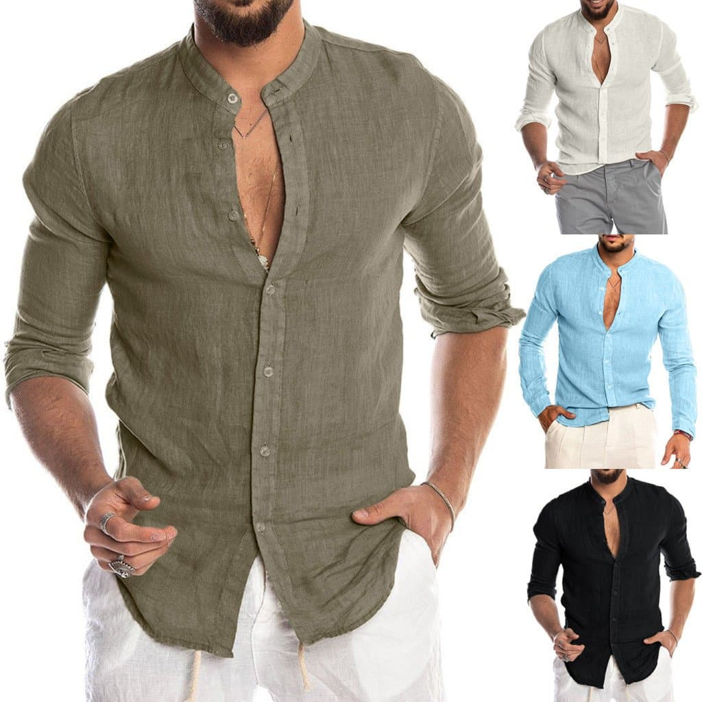 Fashion Men's Casual O-Neck Button Solid Beach Long Sleeve - FLJ CORPORATIONS