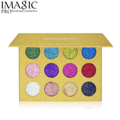 Imagic 12 Color Highly Pigmented Diamond Glitter Eye Shadow Palette Flash Shimme - FLJ CORPORATIONS