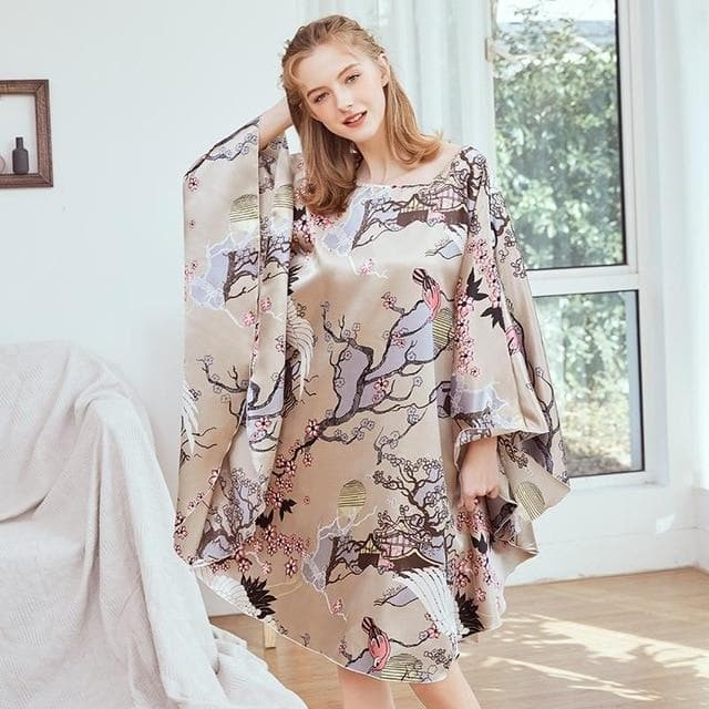 New Style Chinese Women's Faux Silk Bath Robe Gown - FLJ CORPORATIONS