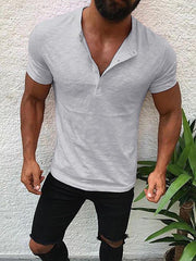 Men's T-shirt Graphic Solid Colored Slim Tops Cotton V Neck White Black Blushing Pink
