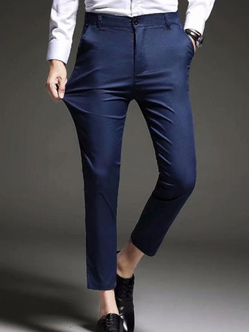 Men's Basic Daily Dress Pants Pants - Solid Colored Black Blue 28 / 29 / 30 - FLJ CORPORATIONS