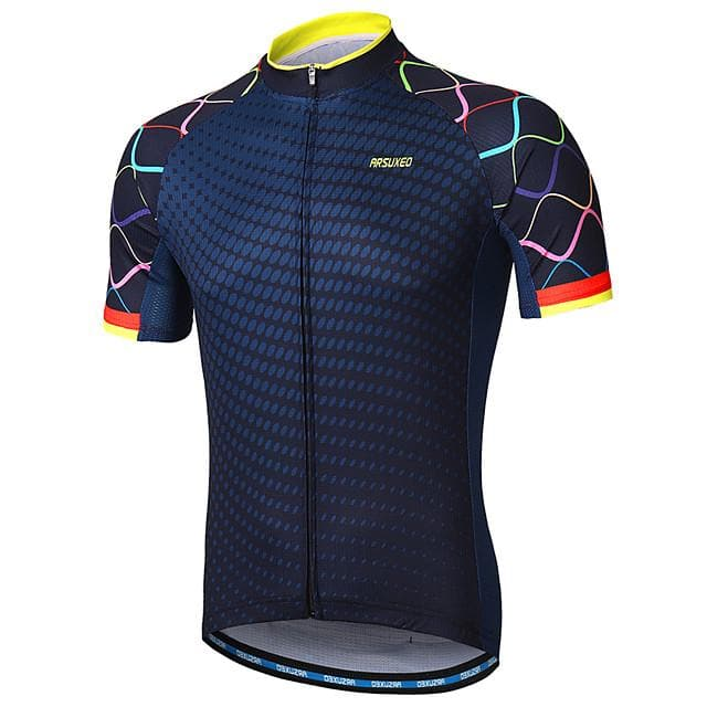 Arsuxeo Men's Short Sleeve Cycling Jersey Navy Purple Yellow Gradient Bike Jersey Mountain Bike MTB Road Bike Cycling Reflective Strips Sweat-wicking Sports Clothing Apparel - FLJ CORPORATIONS