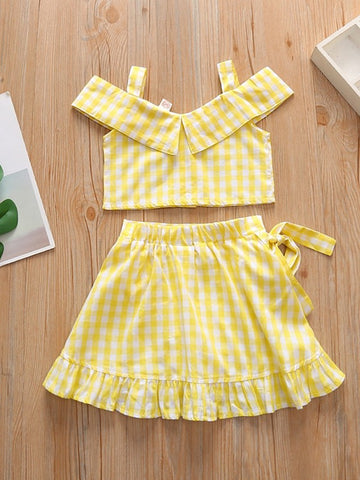 Baby Girls' Basic Plaid Sleeveless Regular Clothing Set Yellow