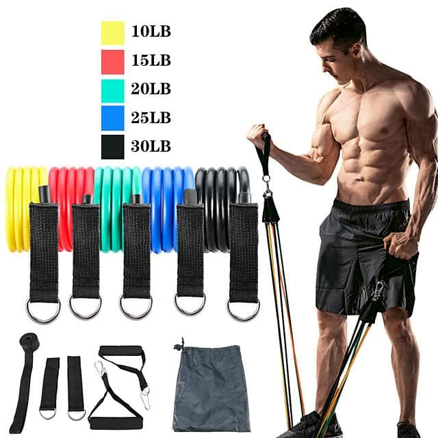Resistance Band Set Exercise Resistance Bands 11 pcs 5 Stackable Exercise Bands Door Anchor Legs Ankle Straps Sports TPE Home Workout Pilates CrossFit Heavy-duty Carabiner Strength Training Muscular - FLJ CORPORATIONS
