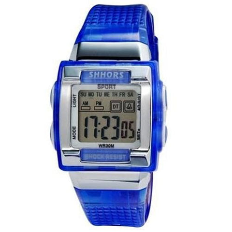 SHORS SH-358 Unisex Rectangular LED Digital Display Water Resistant Watch M. - Blue