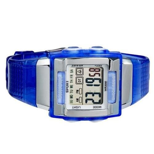 SHORS SH-358 Unisex Rectangular LED Digital Display Water Resistant Watch M. - Blue - FLJ CORPORATIONS