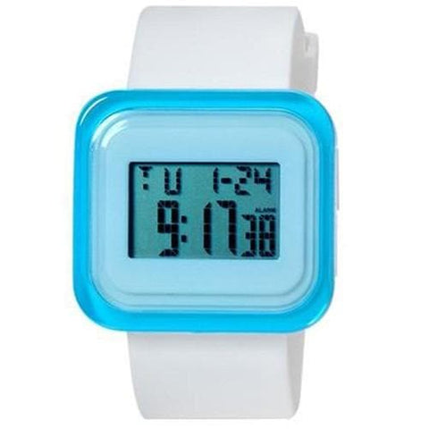 SHORS SH-615 Unisex Rectangular LED Digital Water Resistant Watch With Alarm Clock/Backlight M. - White