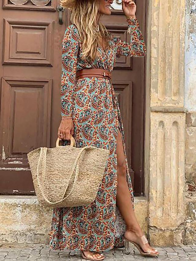 Women's Swing Dress Maxi long Dress - 3/4 Length Sleeve Floral Split Print Spring Fall V Neck Sexy Daily 2020 Blue Brown M L XL XXL 3XL