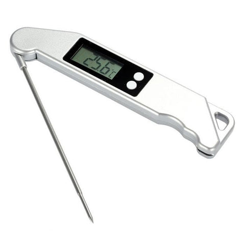 Digital Kitchen Folding Probe Thermometer Temperature Meter - Silver