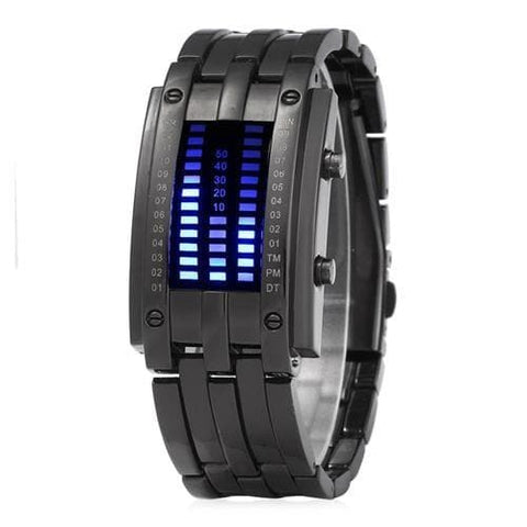 Special Cool Square Dial Dual Time Scales Red LED Digital Watch for Women -BlackOriginal text