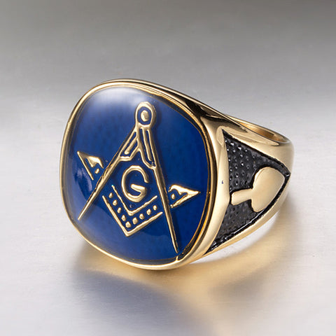 Men's Band Ring Signet Ring Masonic Rings Gold Titanium Steel Titanium Steel Fashion Military Army Work Office & Career Jewelry High School Rings freemason Class - FLJ CORPORATIONS