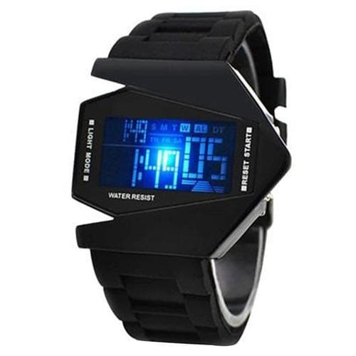 Stylish Digital Watch Airplane Shaped Dial With Colorful Light And Silicone Strap - BlackOriginal text - FLJ CORPORATIONS