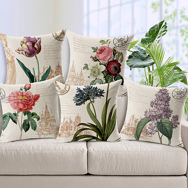 Set of 5 Cotton / Linen Pillow Cover, Floral Country Throw Pillow - FLJ CORPORATIONS