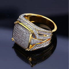 Men's Ring Signet Ring Cubic Zirconia 1pc Gold Copper Rhinestone Geometric Stylish Luxury Hip Hop Wedding Party Jewelry Classic Cool