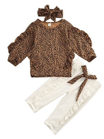 Baby Girls' Basic Leopard Long Sleeve Regular Clothing Set Brown