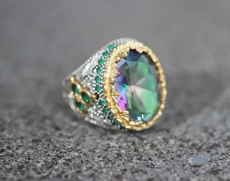 Silver Ruby Mystic Topaz Mens Ring - FLJ CORPORATIONS