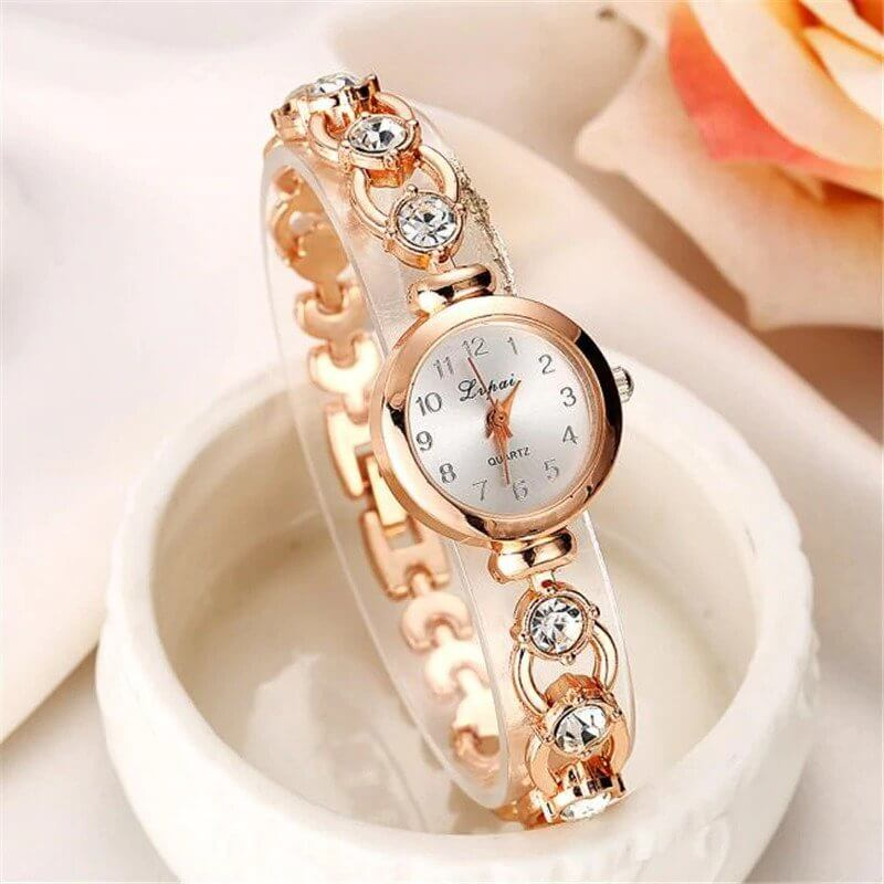 Ladies Elegant Wrist Watches Women Bracelet Rhinestones Analog Quartz Watch - FLJ CORPORATIONS